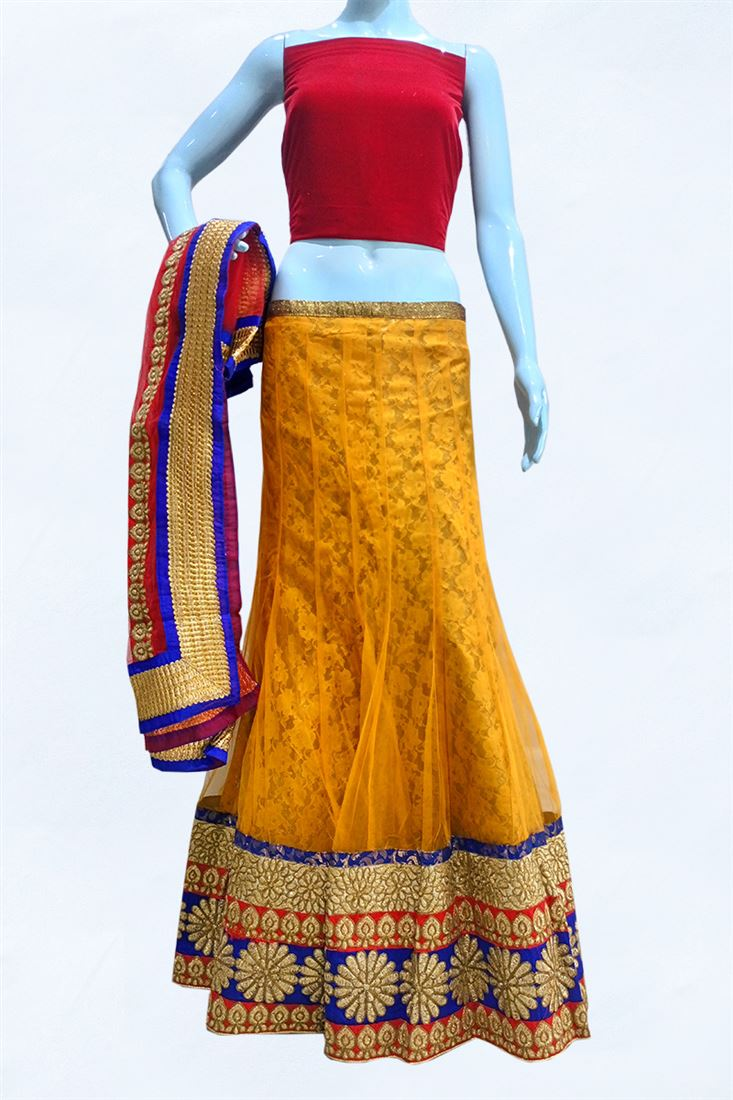 Mustard Yellow Net Girlish Lehenga Choli with Brocade Inner