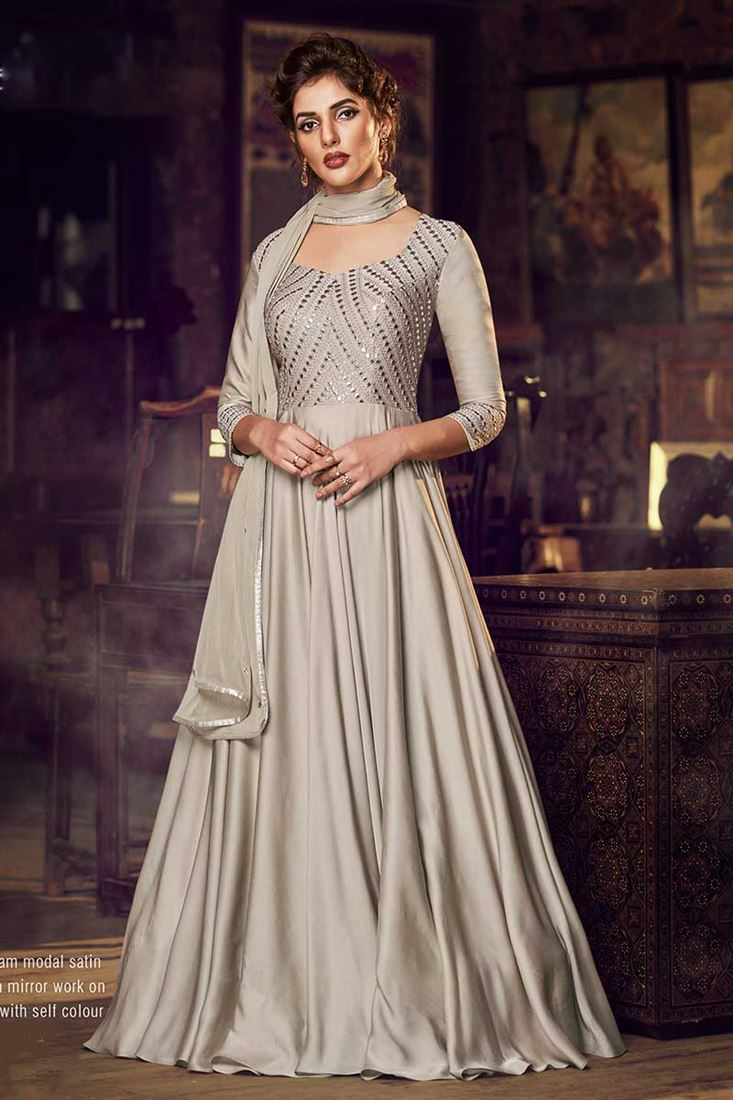Dusty Cream Colour Modal Satin Fabric Designer Party Wear Ready Made Gown With Dupatta