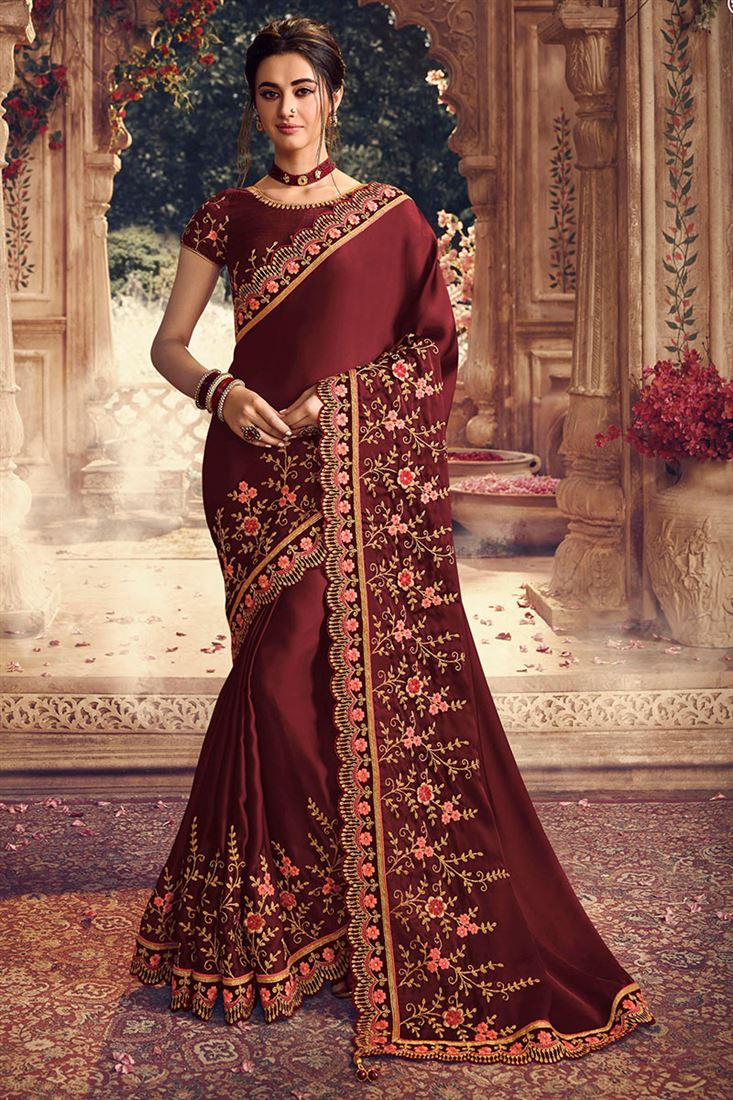 Sterling Maroon Colour Satin Silk Fabric Wedding Saree With Maroon Raw Silk Blouse
