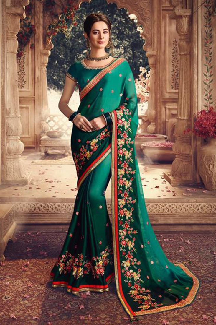 Delightful Rama Green Shaded Georgette Silk Fabric Saree With Rama Green Raw Silk Blouse