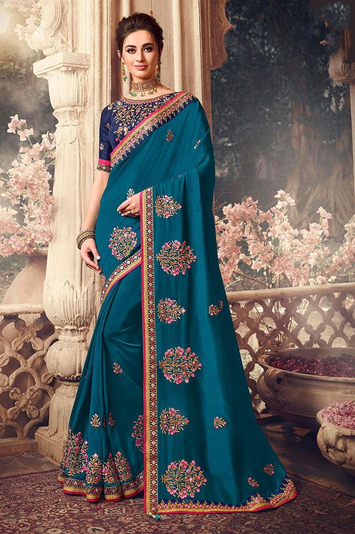 Beautiful Peacock Blue Colour Handloom Silk Fabric Saree With Navy blue Raw Silk Blouse