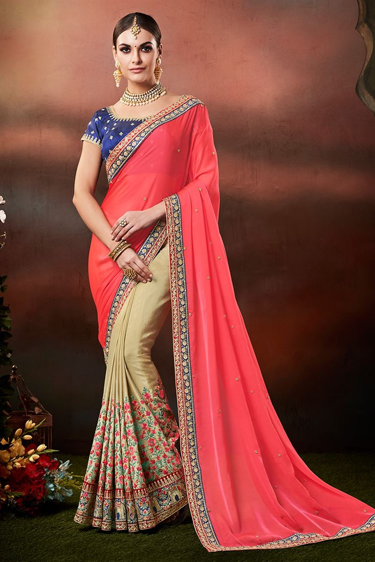 Pink & Chikoo Georgette & Handloom Silk Designer Party Wear Saree With Dhupion Blouse