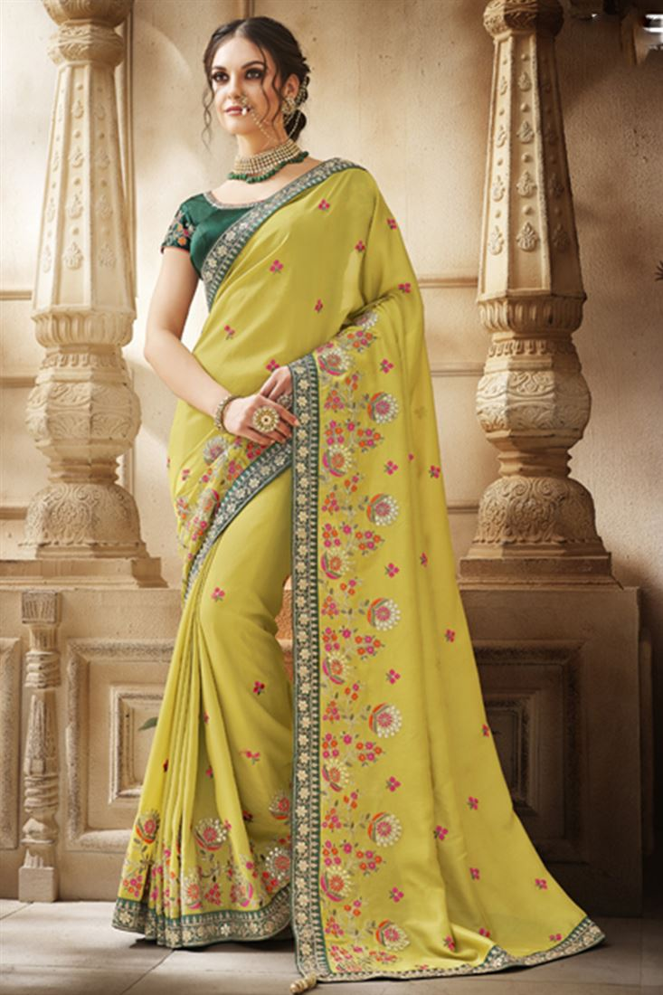 Mehendi Yellow Colour Handloom Silk Fabric Designer Party Wear Saree With Dhupion Blouse