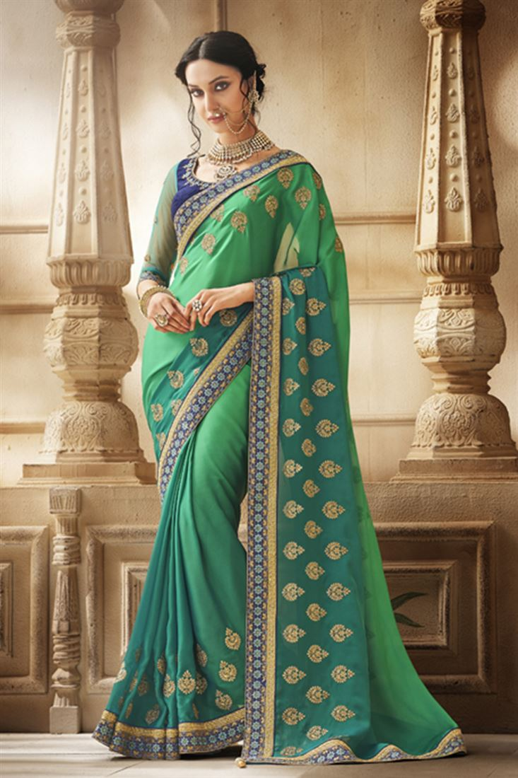 Ferozi Green Shaded Satin Georgette Fabric Designer Party Wear Saree With Dhupion Blouse