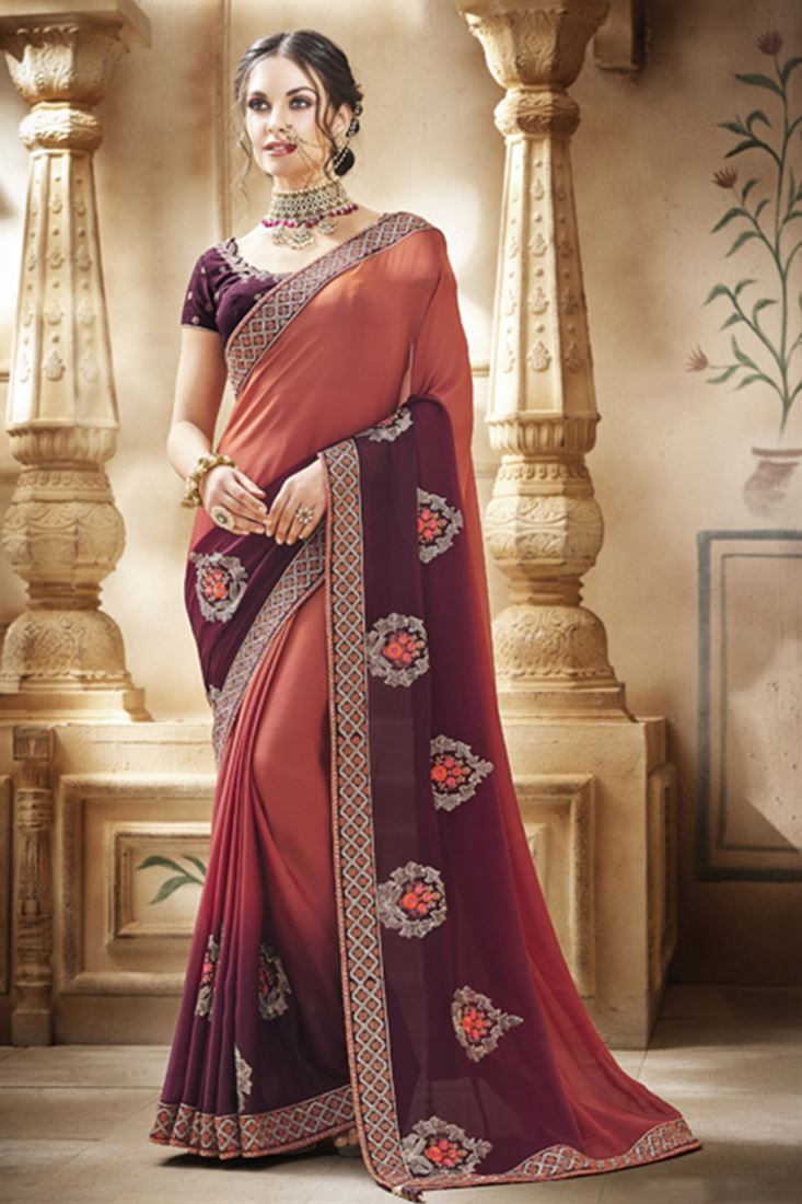 Wine Colour Shaded Satin Georgette Fabric Designer Party Wear Saree With Dhupion Blouse