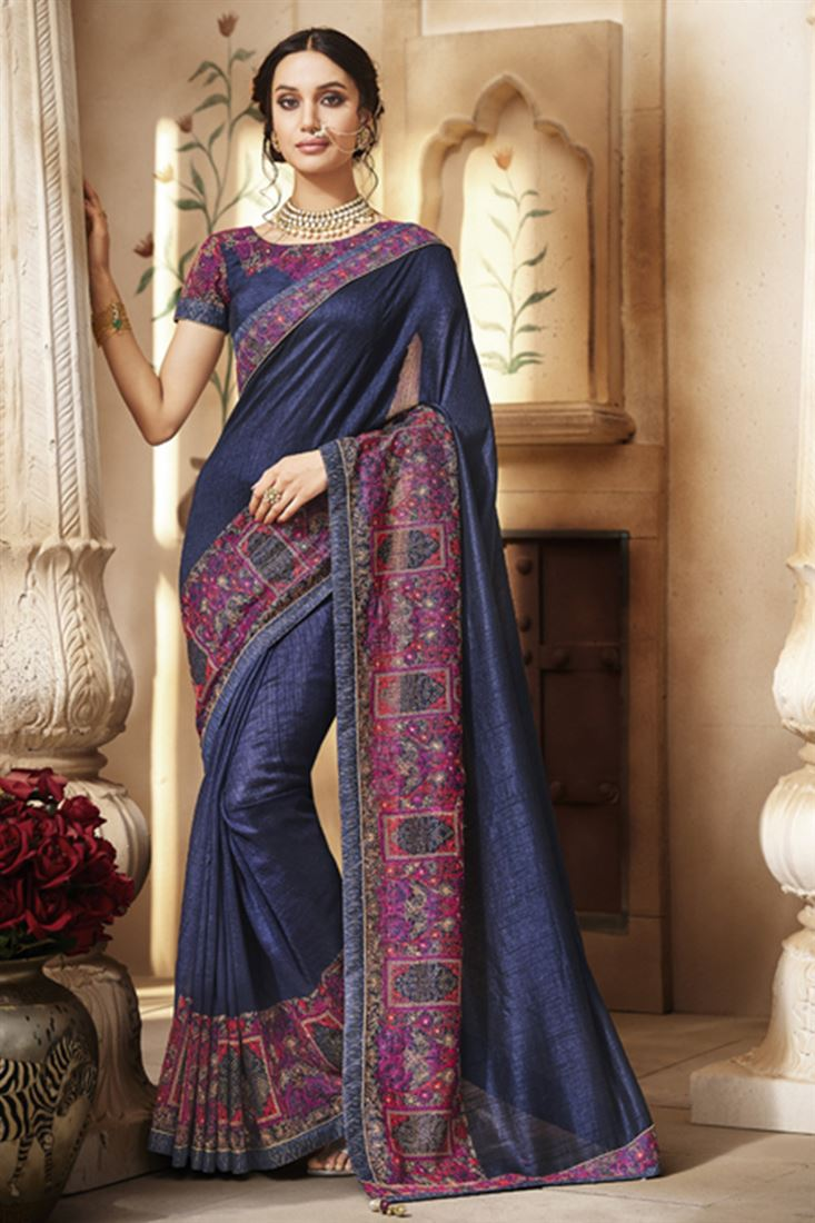 Navy Blue Colour Handloom Silk Fabric Designer Party Wear Saree With Dhupion Blouse