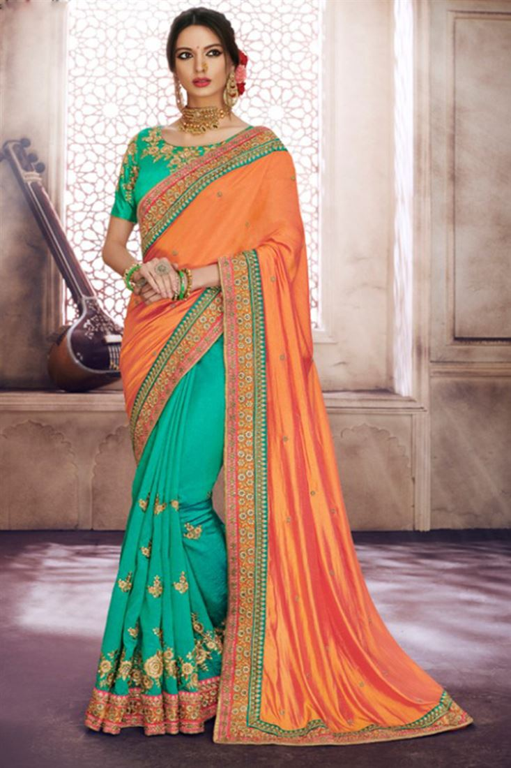 Shagun Jacquard Silk & Handloom Silk Fabric Green & Orange Saree