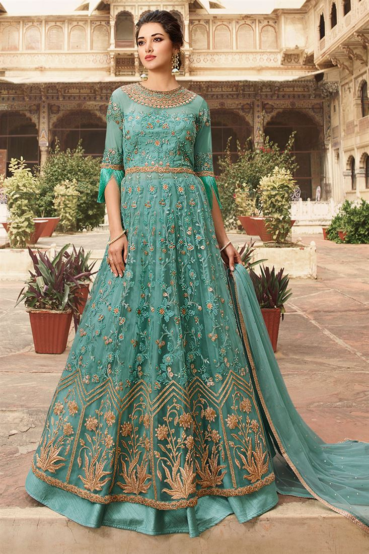 Graceful Sea Blue Net Fabric Designer Party Wear Suit With Banglori Lehenga And Pant