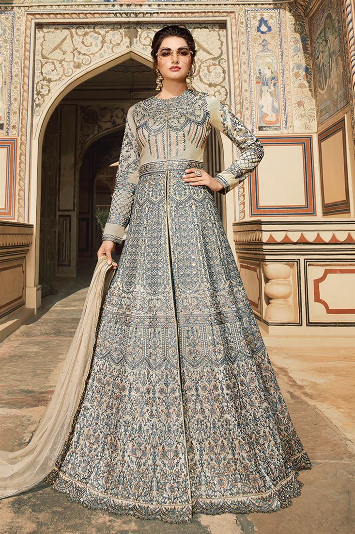 Amazing Grey Tafetta Fabric Designer Embroidered Suit With Banglori Silk Lehenga And Tafetta Pant