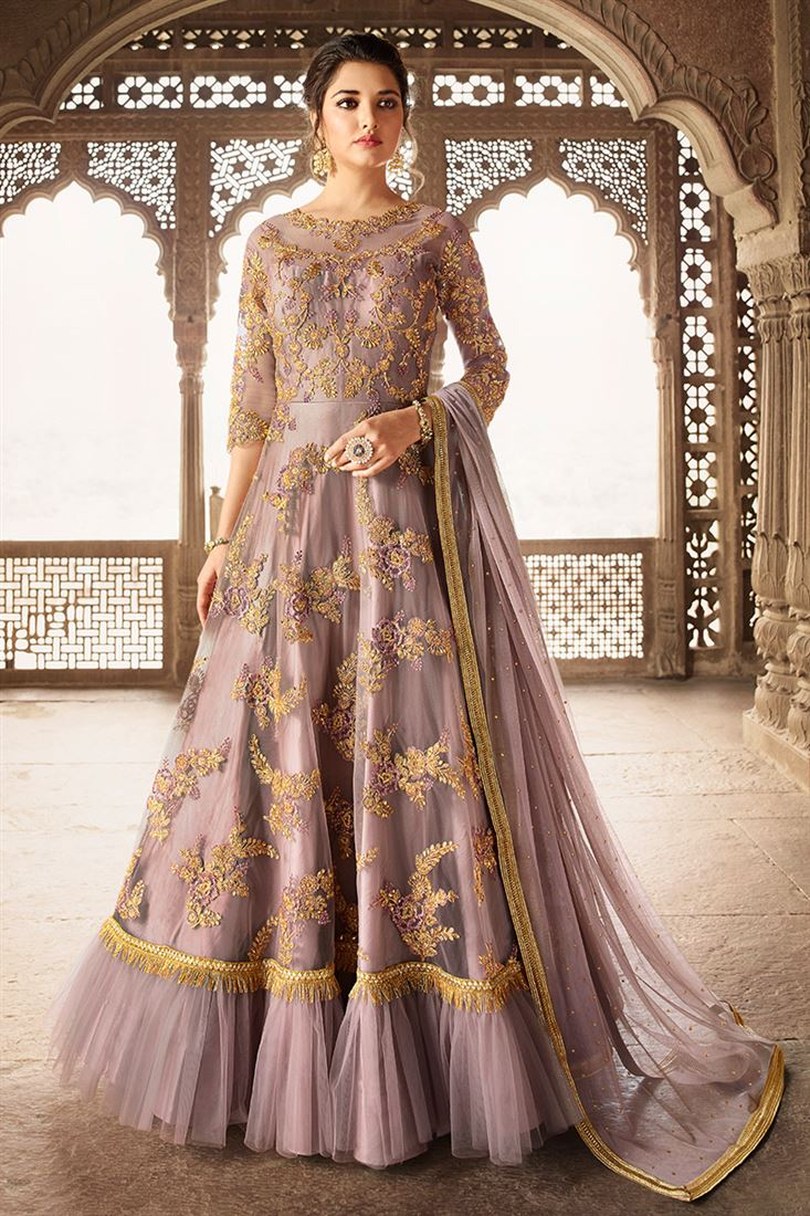 Gorgeous Dusty Mauve Colour Round Net Designer Embroidered Party Wear Gown Style Suit