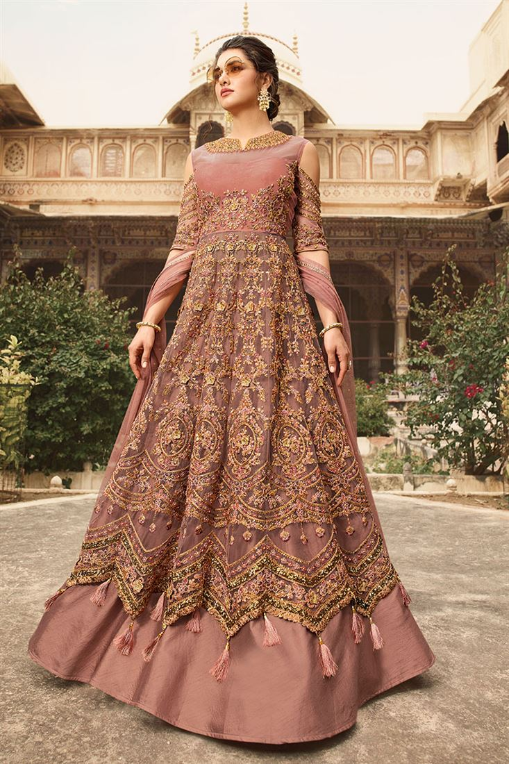 Stunning Dark Beige Round Net Party Wear Anarkali Suit With Banglori Lehenga And Pant