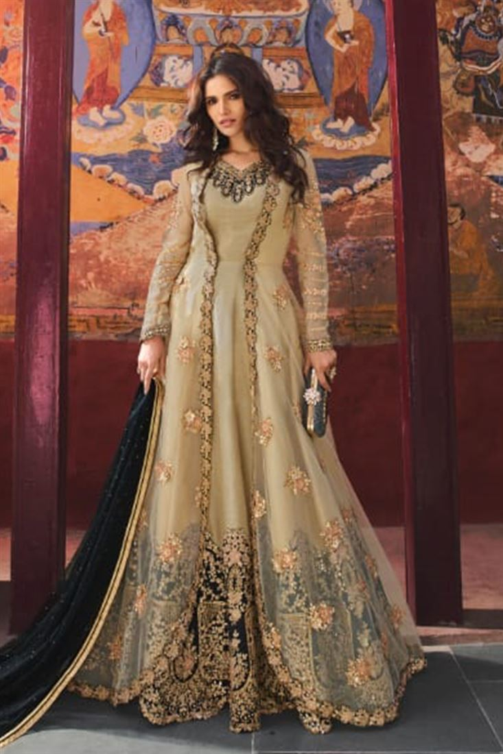 Alluring Beige Silk Base Embroidered Anarkali Style Suit With Net Jacket