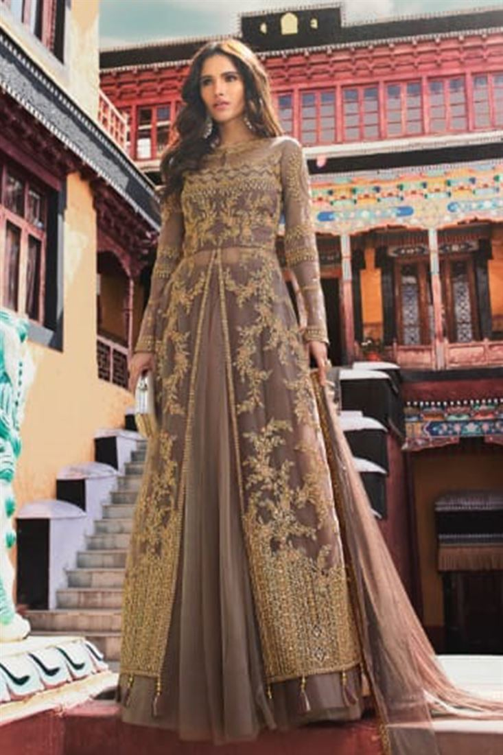Exquisite Brown Party Wear Jacket Style Suit With Net Skirt And Soft Dupatta