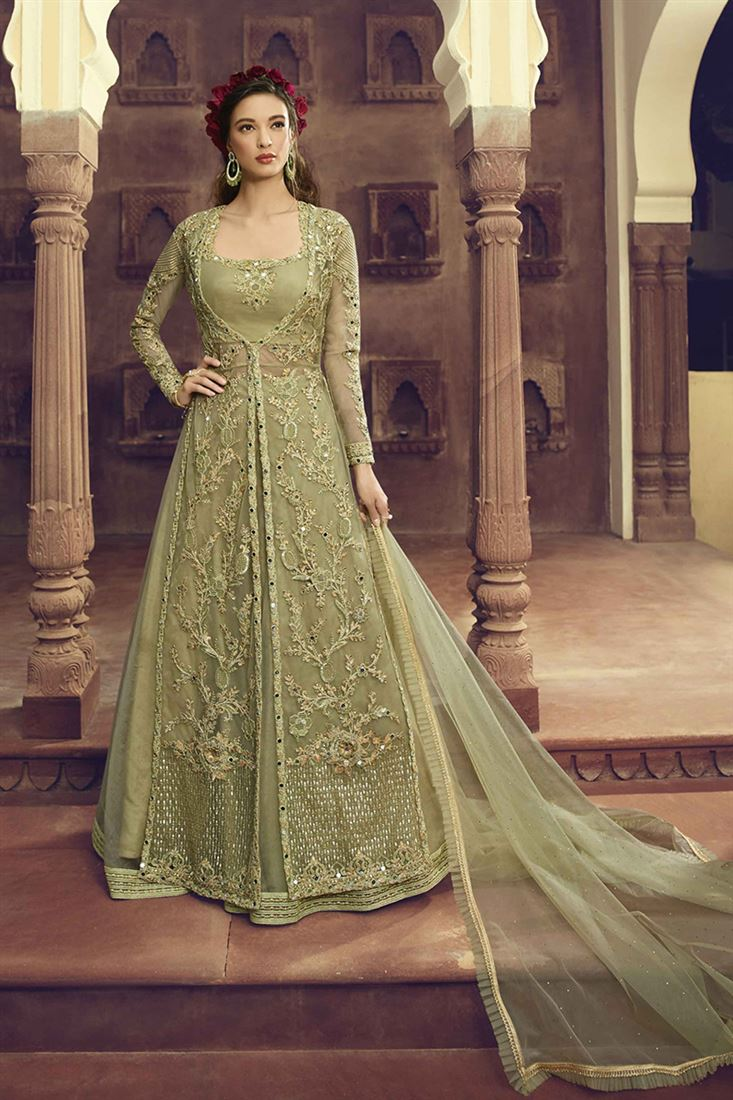 Pastel Green Party Wear Jacket In Butterfly Net With Crop Top & Organza Skirt With Soft Net Dupatta