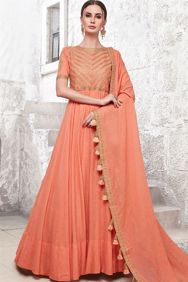 Virasat Salmon Colour Heavy Cotton Maslin Fabric Designer Party Wear Gown With Handwork