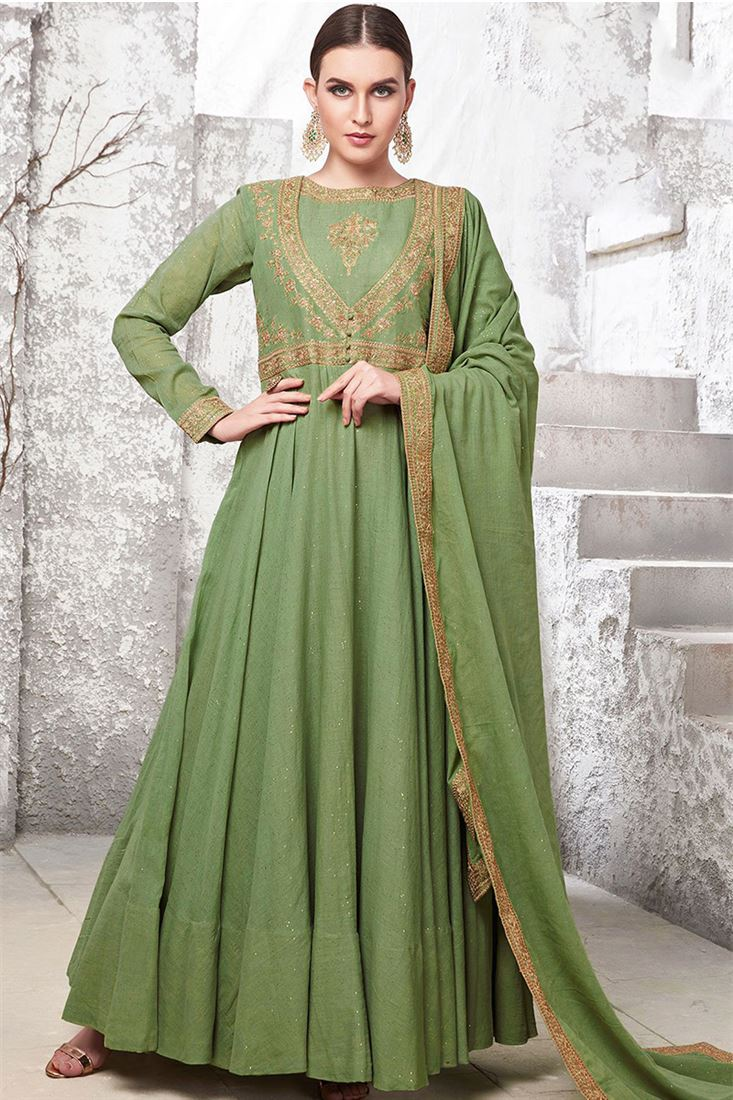 Virasat Light Green Colour Heavy Cotton Maslin Fabric Designer Party Wear Gown With Handwork