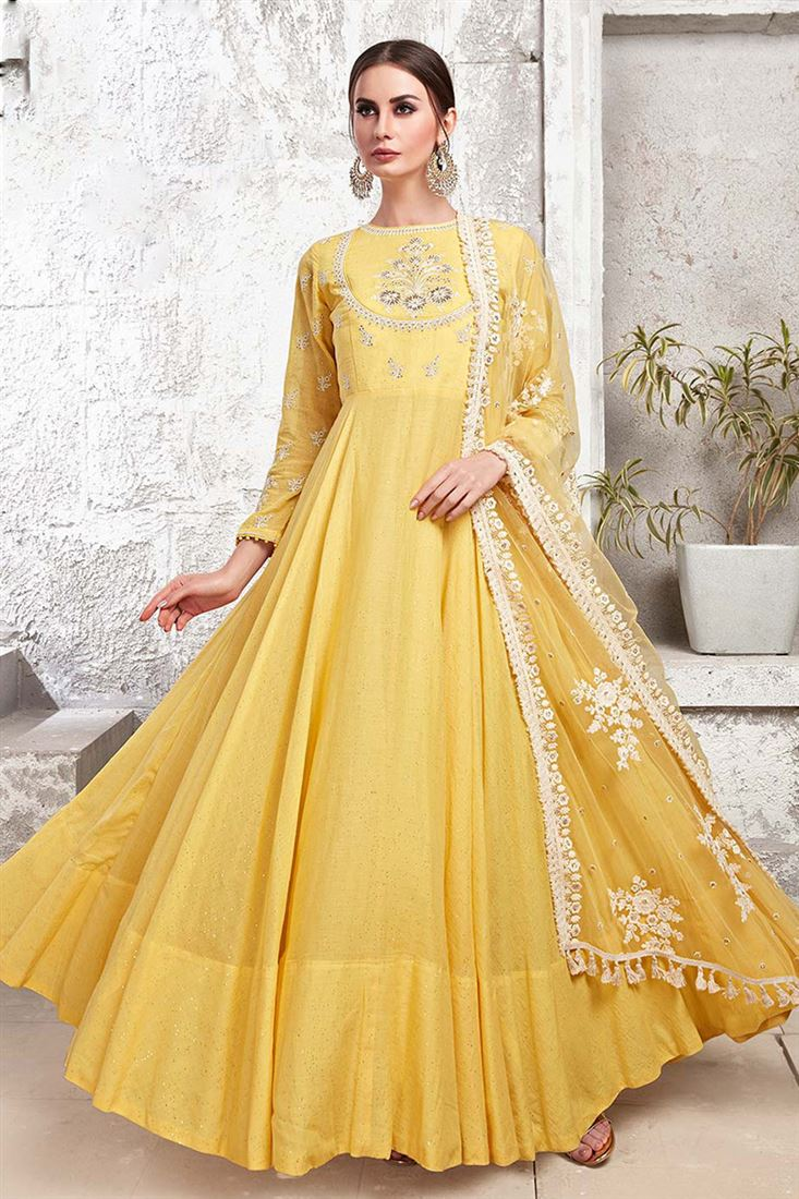 Virasat Yellow Colour Heavy Cotton Maslin Fabric Designer Party Wear Gown With Handwork