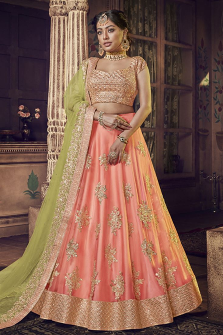 Peach Colour Net Fabric Designer Wedding Wear Lehenga Choli