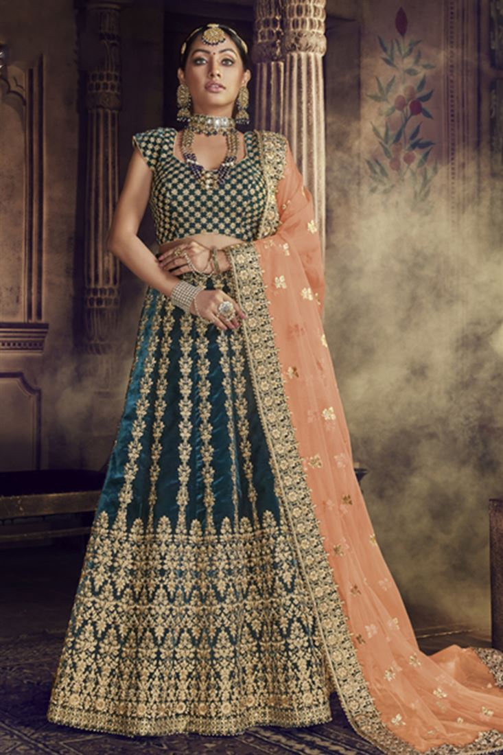 Rama Green Colour Velvet Fabric Designer Wedding Wear Lehenga Choli