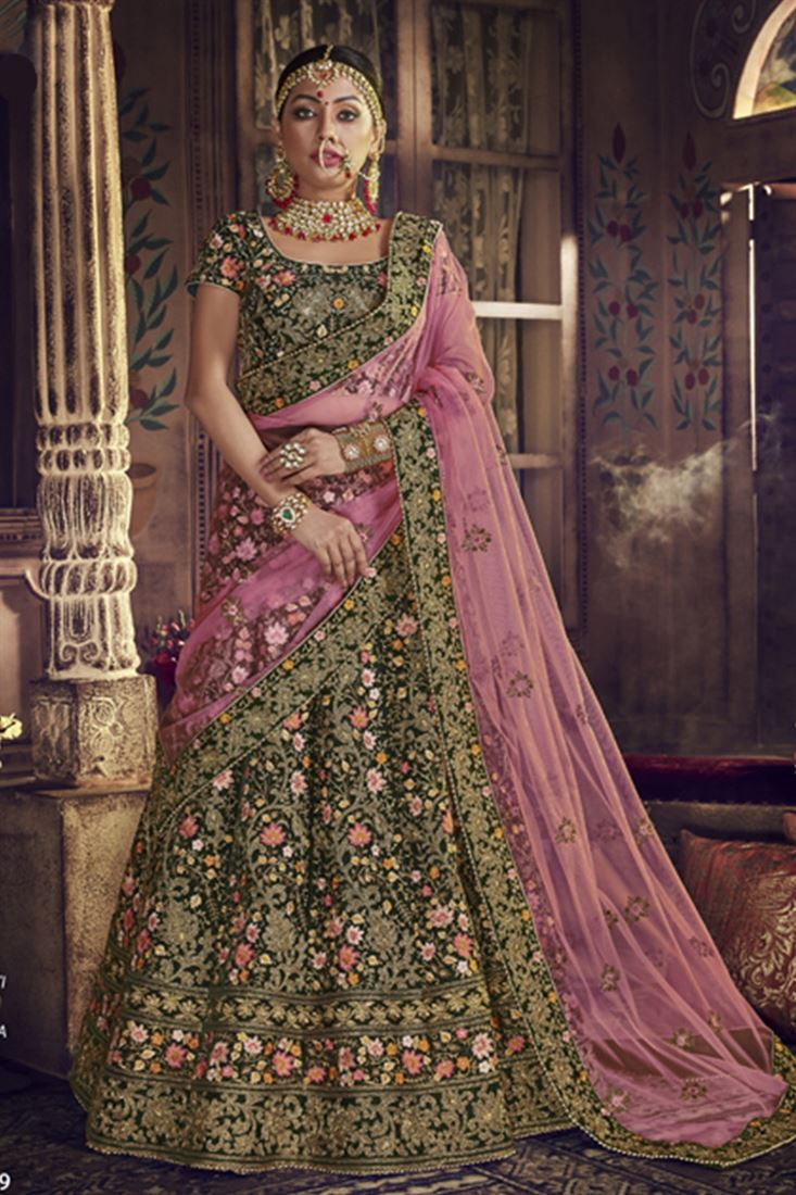 Bottle Green Colour Velvet Fabric Designer Wedding Wear Lehenga Choli