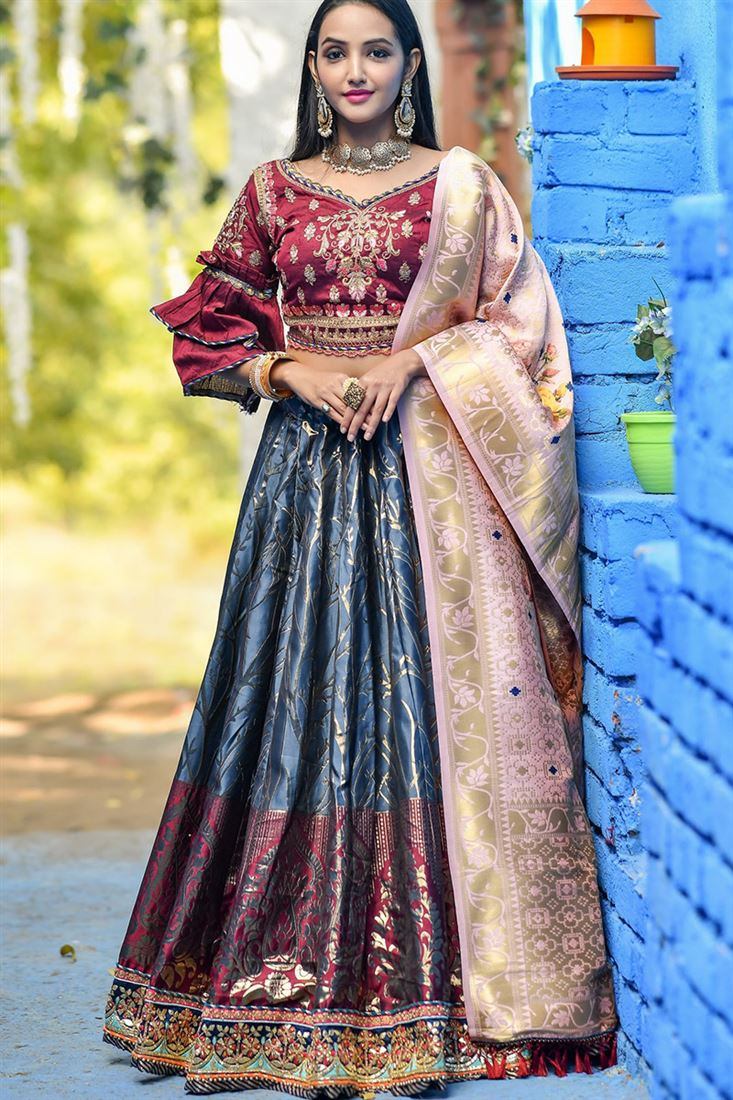 Grey Colour Banarasi Silk Designer Traditional Lehenga Choli