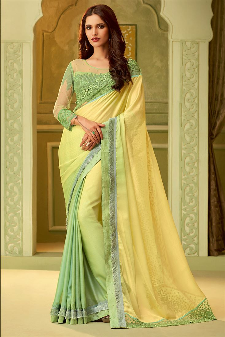 Yellow & Parrot Green Color Luxury Silk Saree With Fancy Embroidered Blouse