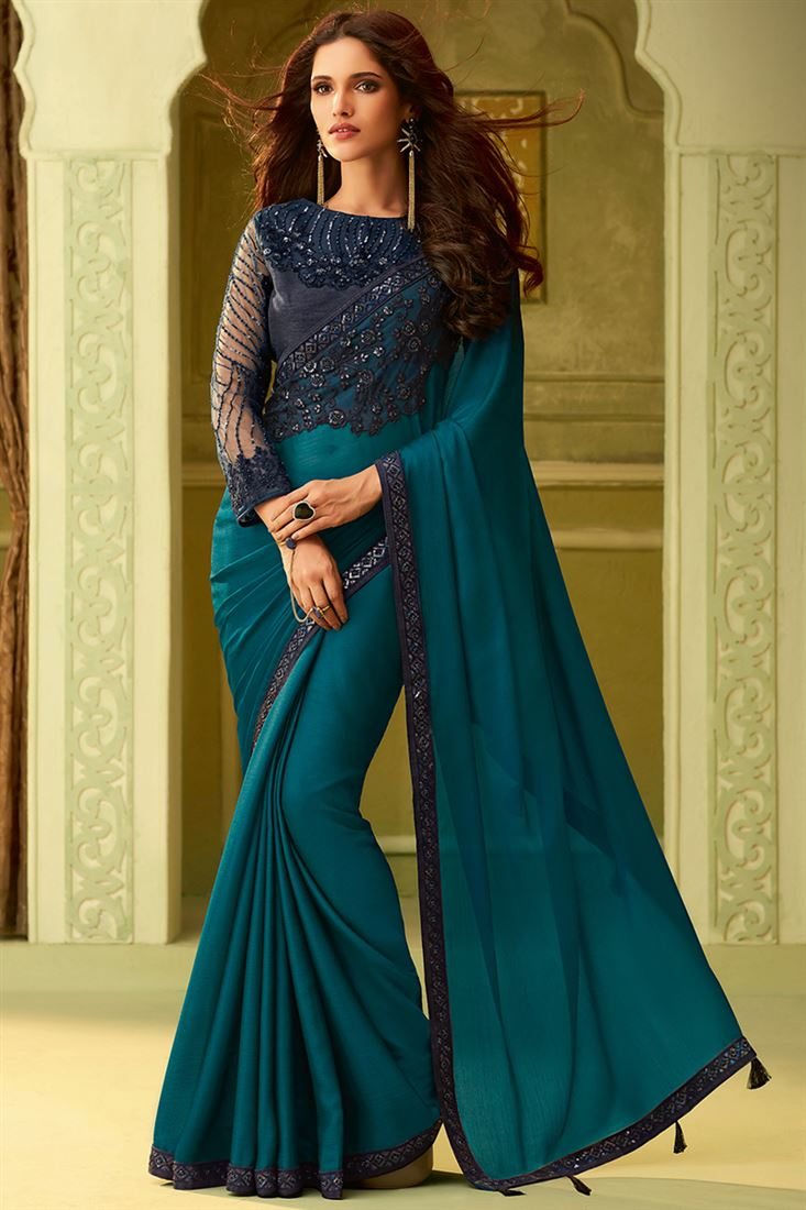 Deep Rama Color Luxury Silk Wedding Saree With Fancy Embroidered Blouse