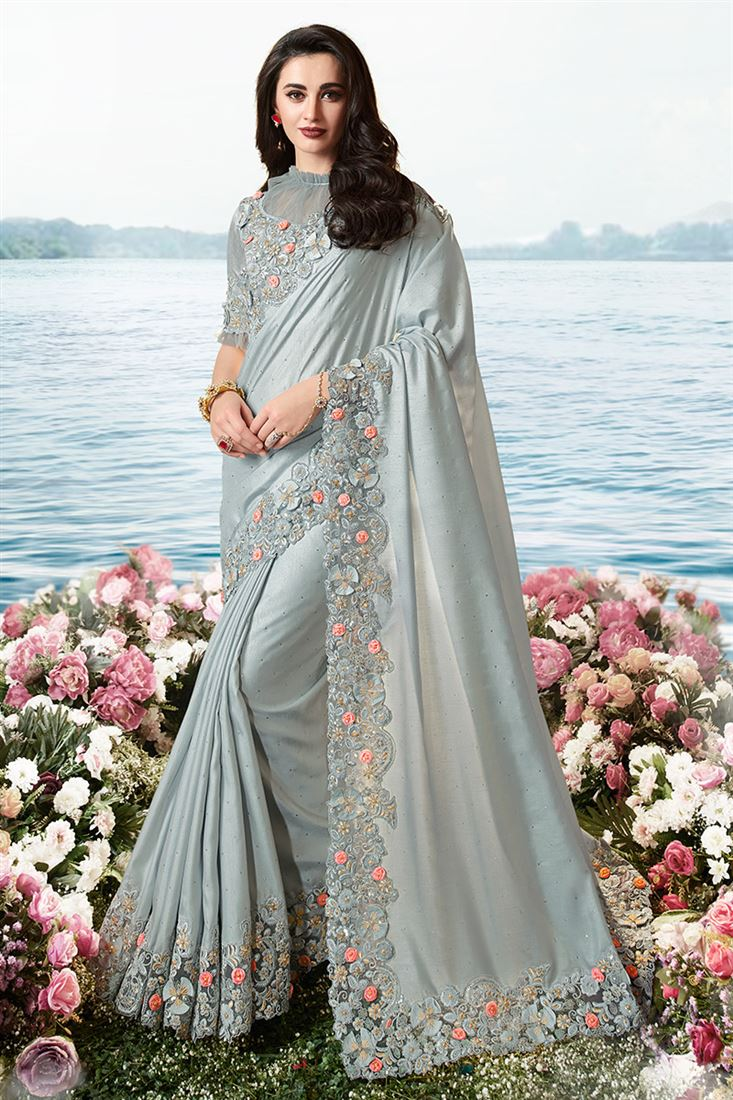Light Grey Colour Silk With Foil Coating Designer Heavy Border Work Saree