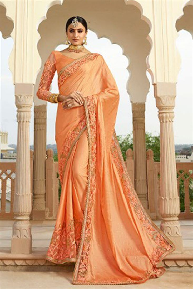 Light Salmon Colour Satin Silk Fabric Designer Saree With Embroidered Blouse