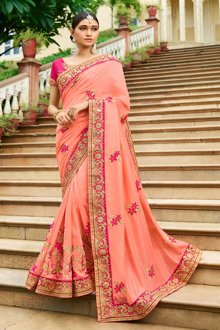 Shilp Pink Colour Silk Fabric Designer Saree With Embroidered Blouse
