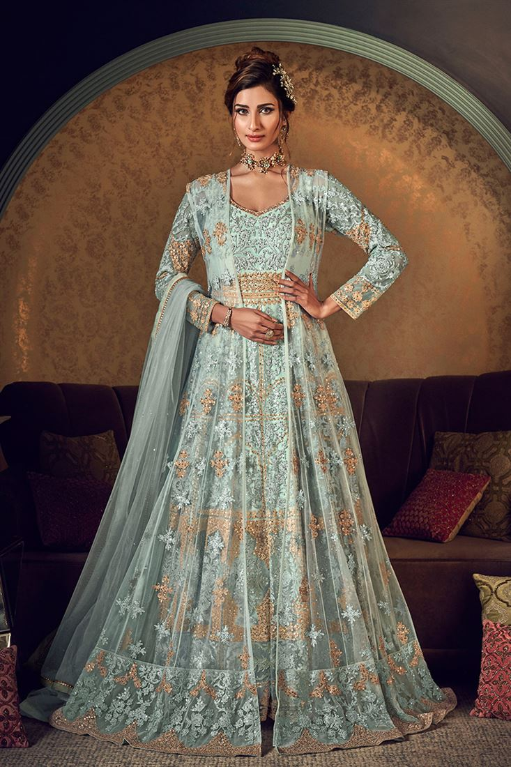 Aqua Blue Colour Butter Fly Net Heavy Designer Gown With Net Jacket