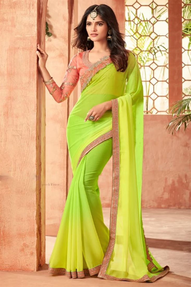 Sandal Wood Lime Green Colour Star Georgette Party Wear With Designer Embroidered Blouse
