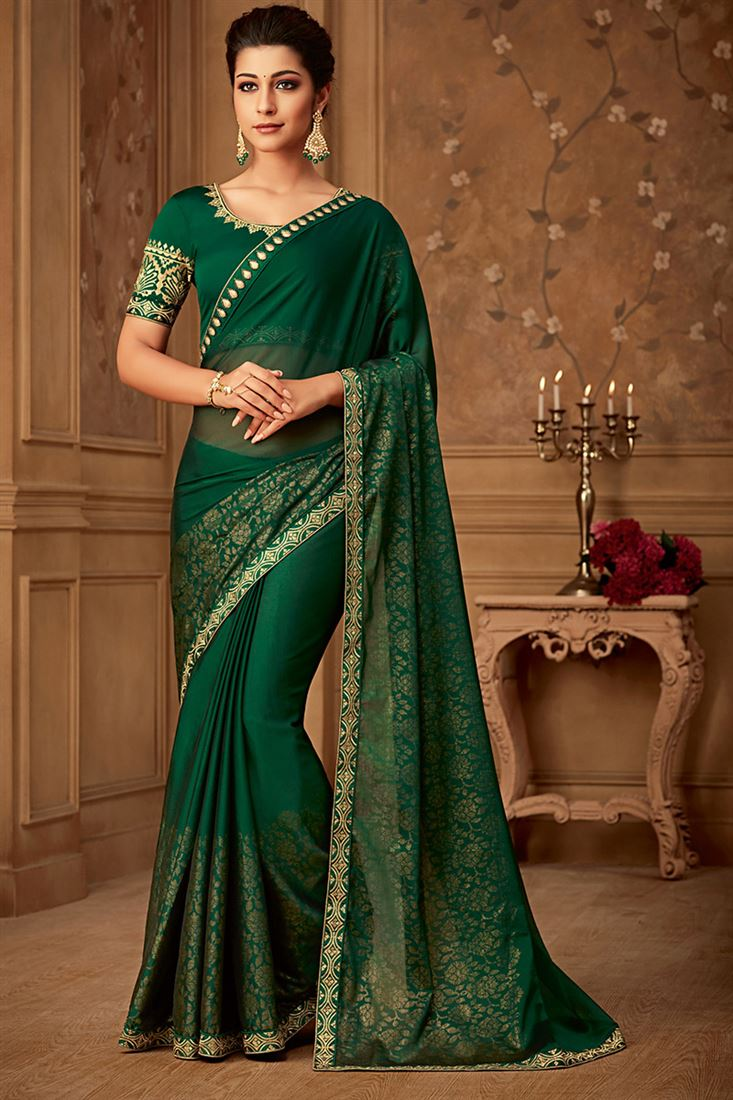 Sandal Wood Green Colour Silk Party Wear Sarees With Designer Blouse