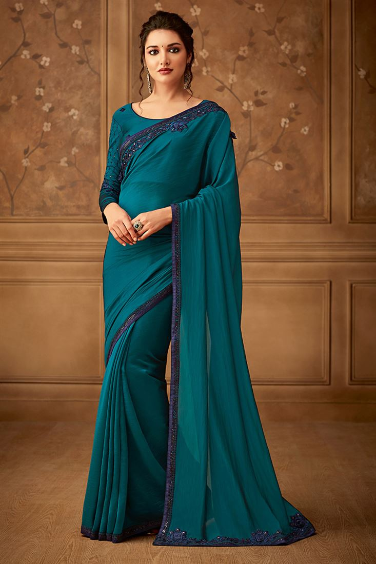 Sandal Wood Deep Rama Colour Violin Silk Party Wear Saree With Embroidered Blouse