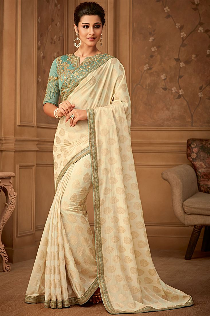 Sandal Wood Cream Colour Banarsi Silk Party Wear With Designer Embroidered Blouse