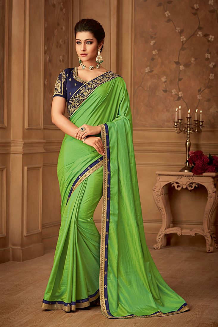 Sandal Wood Lime Green Colour Majestic Silk Party Wear With Designer Embroidered Blouse