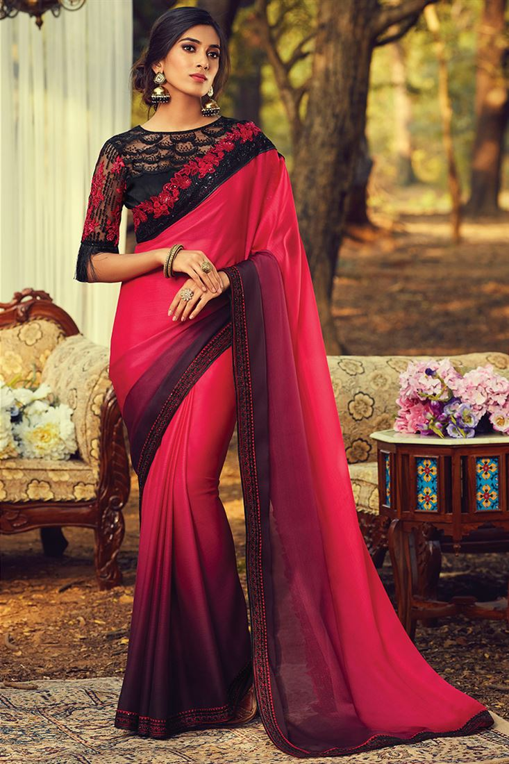 Delightful Dark Pink Burberry Silk Designer Wedding Wear Saree With Embroidered Fancy Blouse