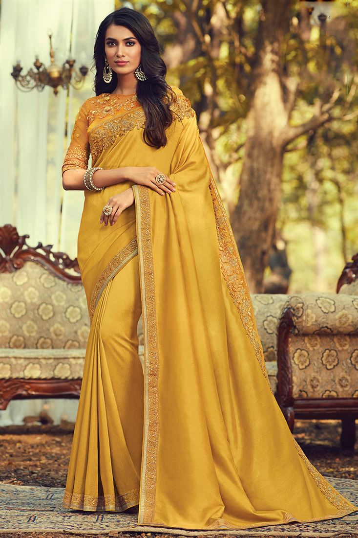 Mustard Yellow Colour Silk Designer saree With Embroidered Blouse