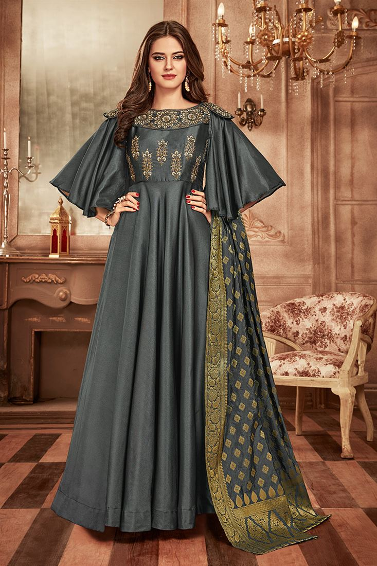 Grey Colour Designer Party Wear Tapeta Satin Gown With Jacquard Dupatta