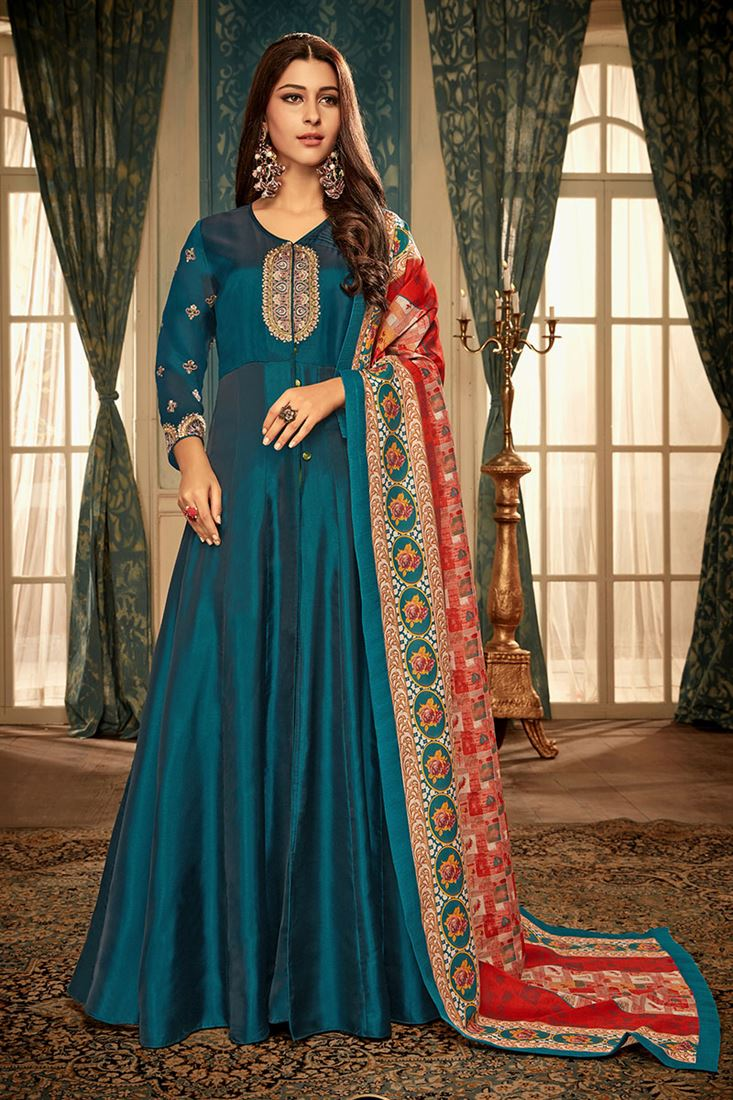 Firozi Colour Satin Georgette Fabric  Designer Party Wear Gown With Digital Print Dupatta