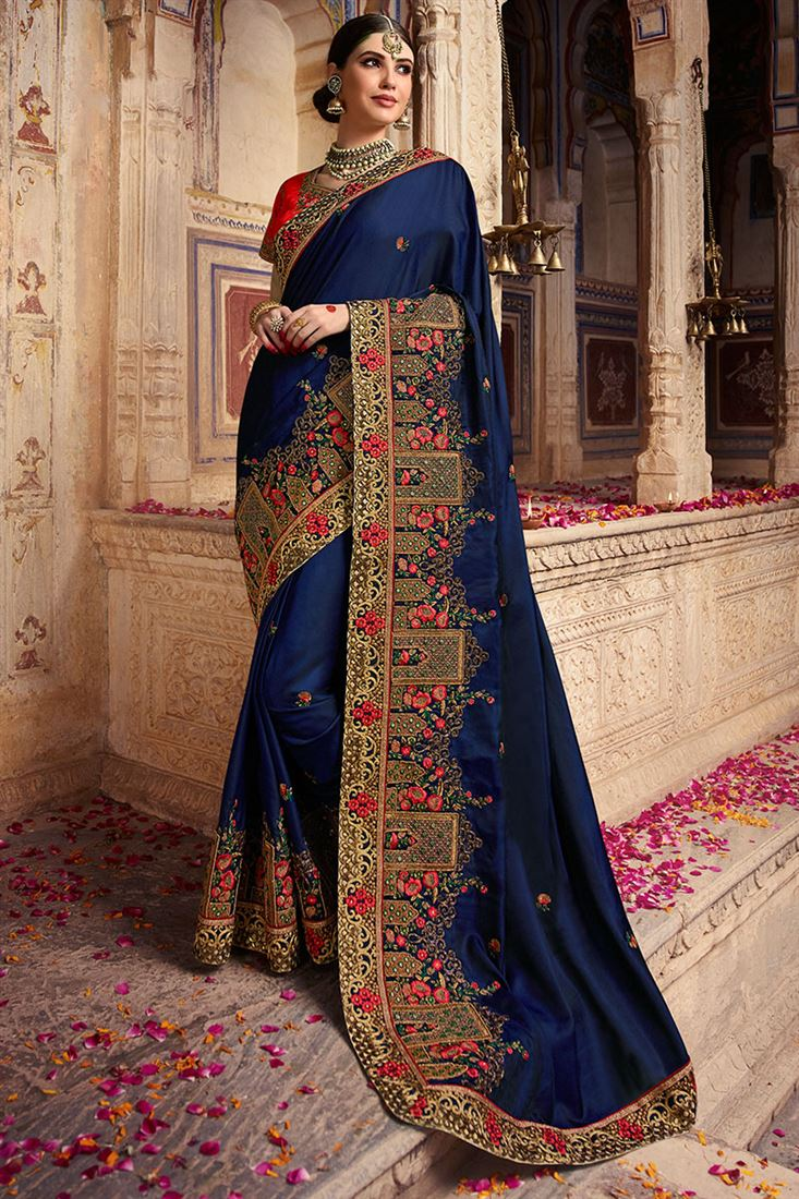 Palash Navy Blue Colour Silk Chiffon Party Wear Saree With Embroidered Blouse