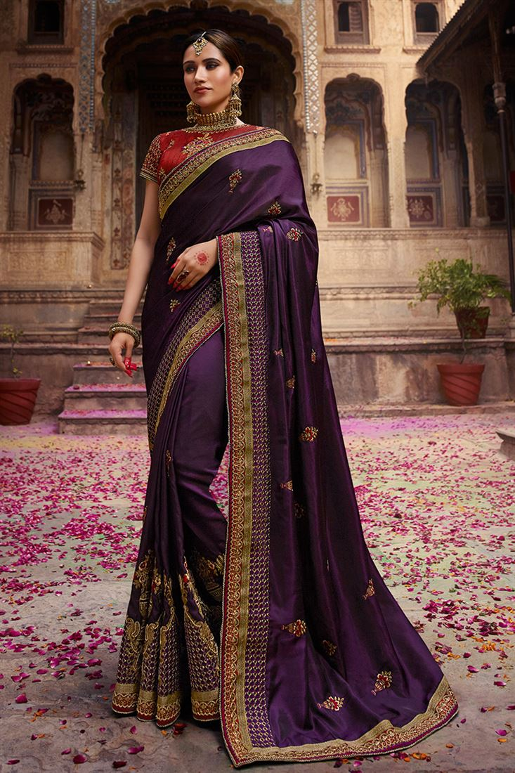 Palash Dark Purple Colour Nyraa Silk Party Wear With Designer Embroidered Blouse