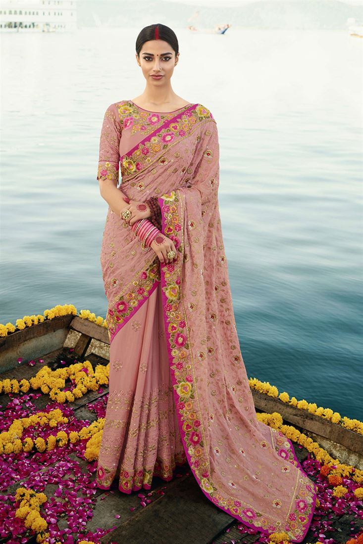 Pink Colour Heavy Silk Saree With Designer Embroidered Blouse
