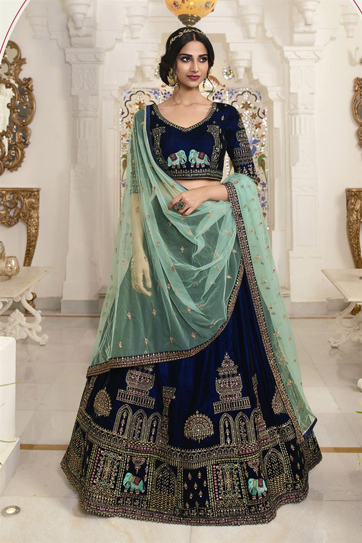 Navy Blue Colour Velvet Fabric Designer Wedding Lehenga With Net Dupatta