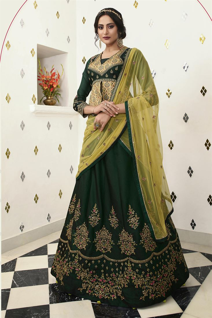 Green Colour Silk fabric Designer Wedding Wear Lehenga Choli With Net Dupatta