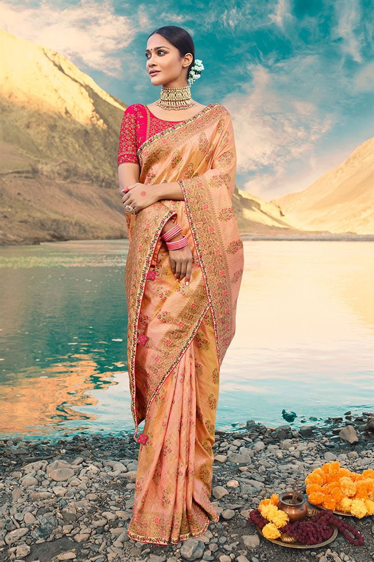 Peach Colour Heavy Silk Fabric Designer Wedding Wear Saree With Embroidery & Hand Work