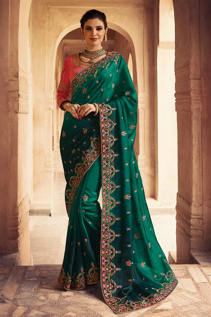 Swara Green Colour Silk Chiffon Party Wear Saree With Embroidered Blouse