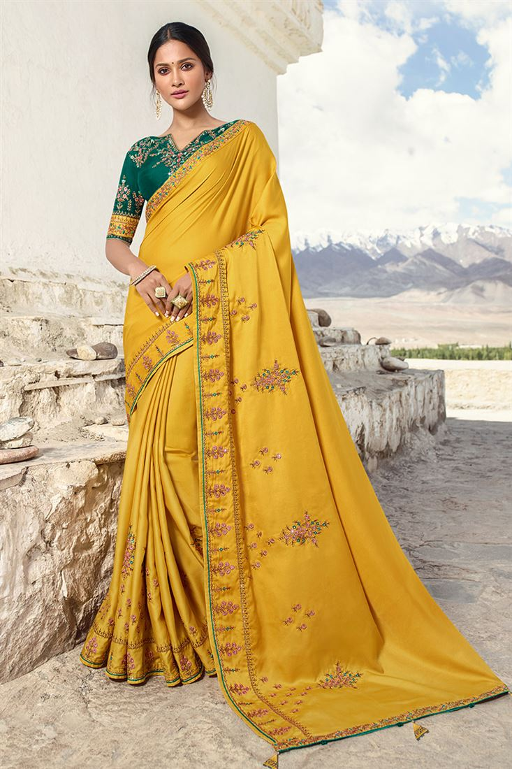 Sneh Mustard Yellow Silk Designer Saree With Embroidered Blouse
