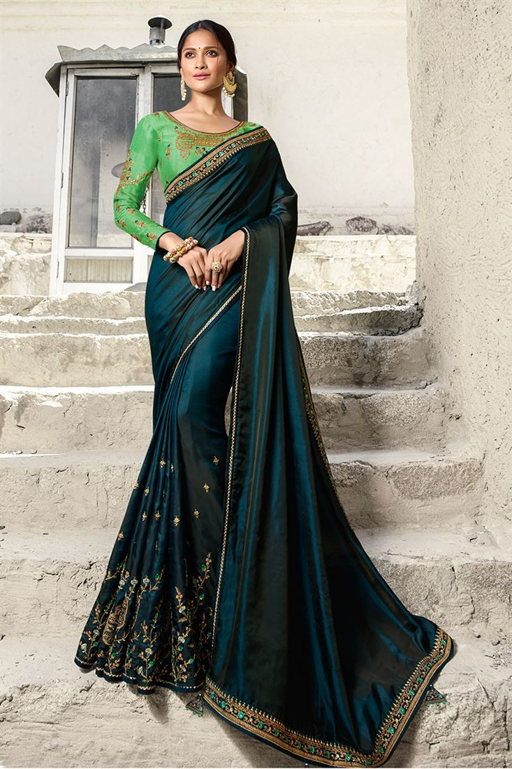Sneh Navy Bluse Silk Designer Saree With Embroidered Blouse