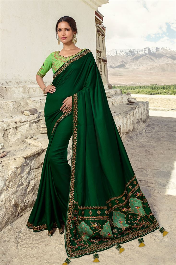 Sneh Green Silk Designer Saree With Embroidered Blouse